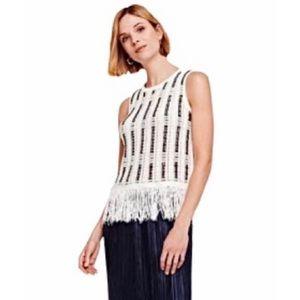 WHITE + WARREN • Cotton-Blend Knit Fringe Tank Top